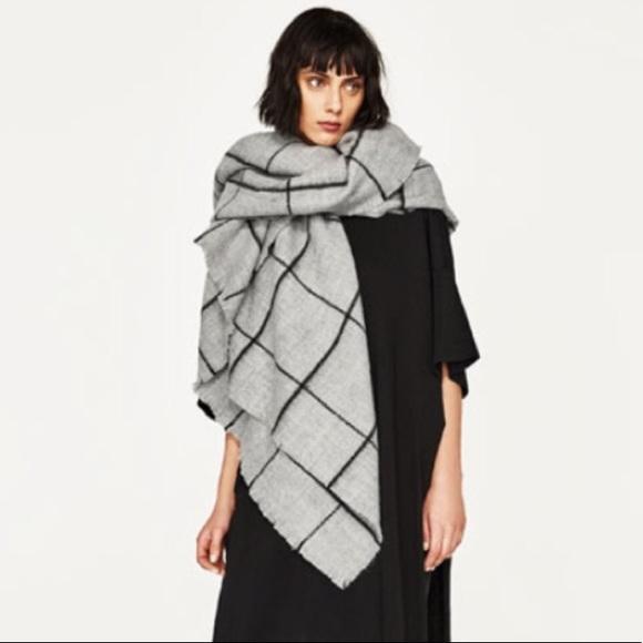 Zara Accessories Gray Grey Blanket Zara Scarf Poshmark